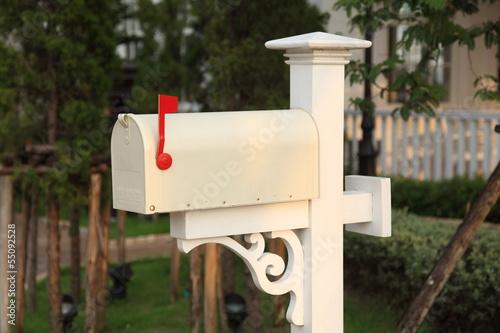 Fotografie, Obraz  retro white mailbox