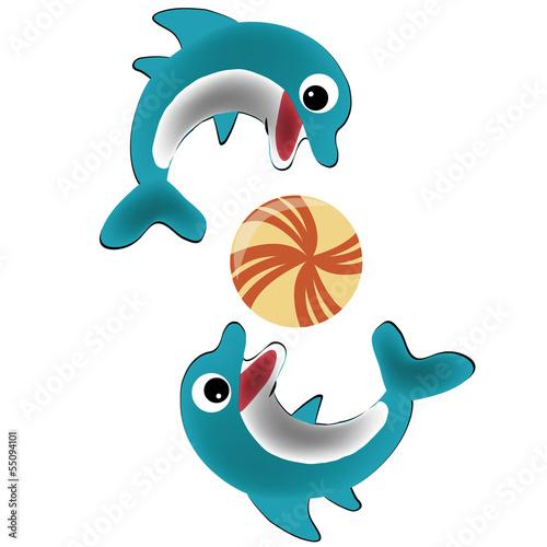 Poster Dolfijnen two happy dolphins
