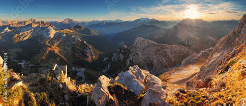 Aluminium Prints Gray traffic Mountain sunset panorama landscape - in Italy Alps - Dolomites