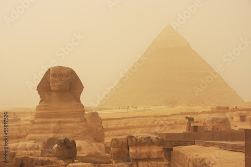 Recess Fitting Egypt The Sphinx and Pyramid of Khafre in a sand storm, Cairo