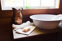 Old Wash Basin In Old Room