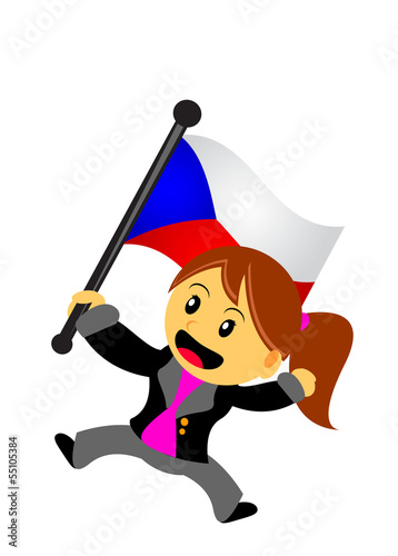 Photo  businesswoman with flag