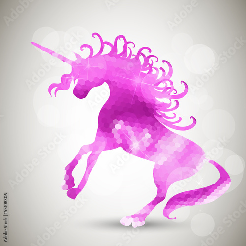 Fotobehang Draw Abstract geometric background with unicorn
