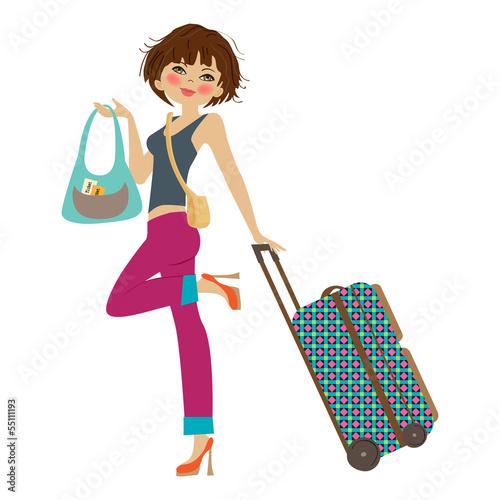 Cadres-photo bureau Avion, ballon young woman with suitcase