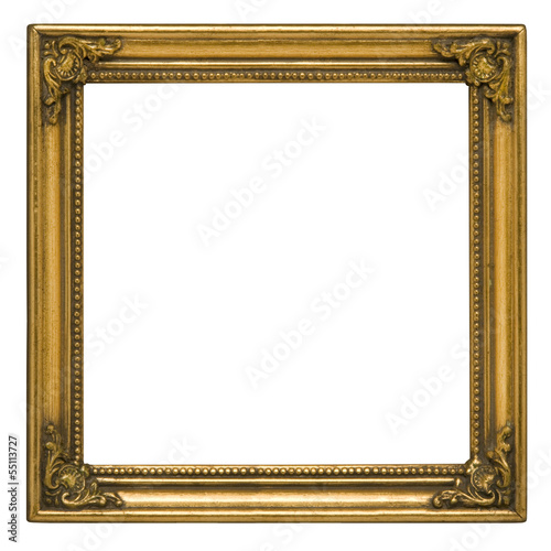 Antique gold square picture frame against white - Buy this stock ...