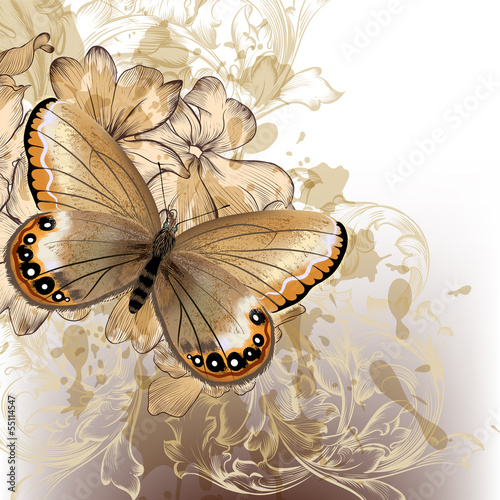Foto op Plexiglas Vlinders in Grunge Cute stylish floral background with butterfly
