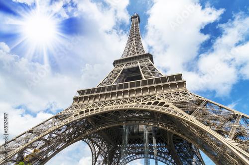 Fototapeta The Tower Eiffel, view from below obraz na płótnie