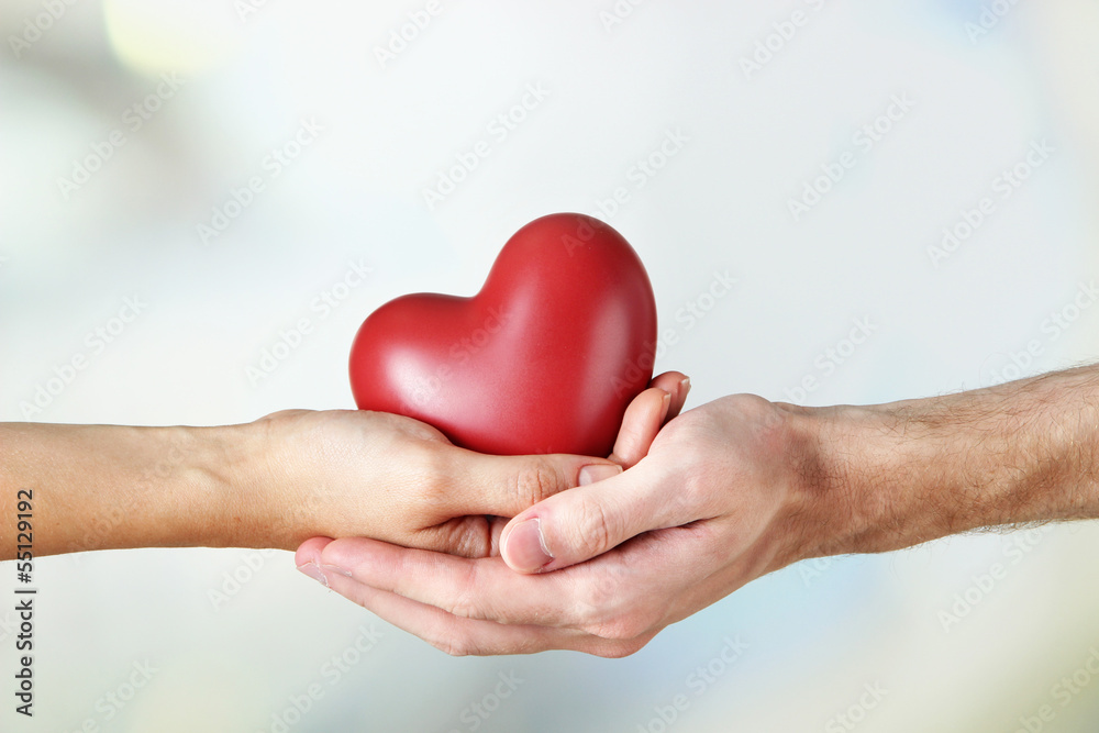 Fototapeta Heart in hands on light background