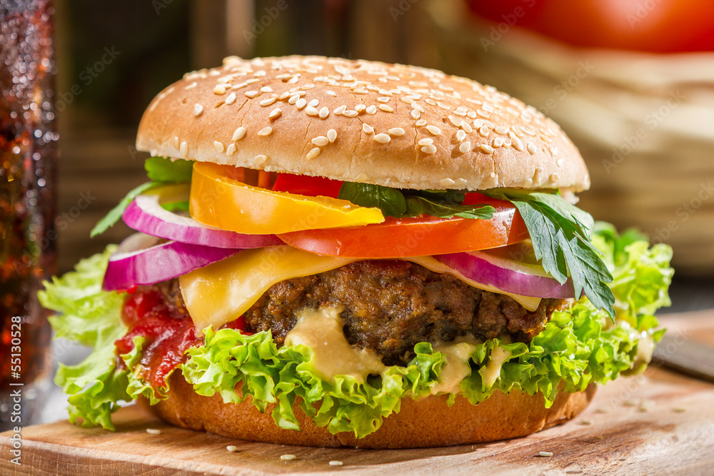 Fototapety, obrazy: Closeup of homemade hamburger with fresh vegetables
