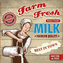 Vintage Farm Fresh Milk With F...