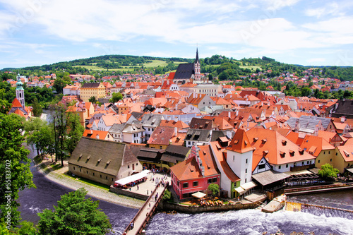 Photo  Aerial view over the old Town of Cesky Krumlov, Czech Republic
