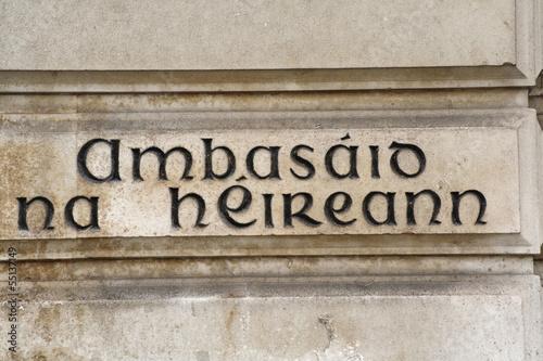 Embassy of Ireland in Gaelic Canvas-taulu