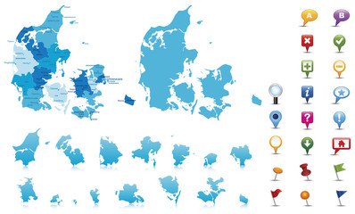 Denmark-highly detailed map.Layers used.
