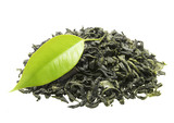 Zielona herbata i świeży liść