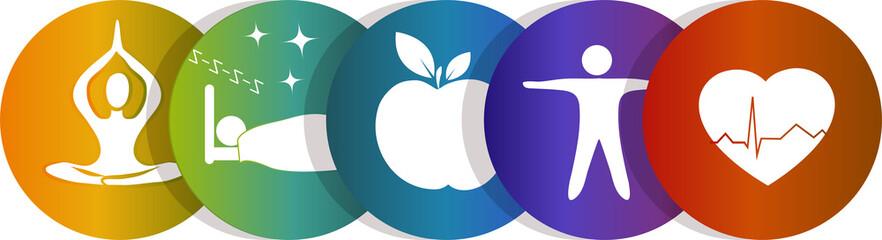 Health care icons, rainbow color