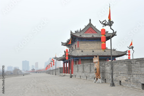 Deurstickers Xian Ancient tower on city wall in Xi'an - China