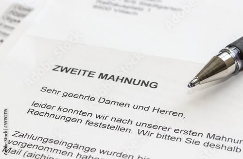 Fotografía  Zweite Mahnung/Zahlungsaufforderung