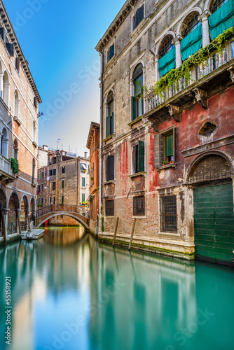 Fototapeta Venice cityscape, water canal, bridge and buildings. Italy obraz