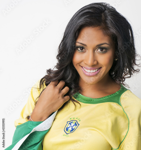 Fotografie, Tablou  Beautiful happy smiling Brazil soccer fan