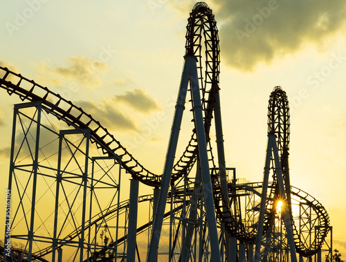 Poster Amusementspark Roller Coaster at Sunset