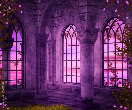 Poster Violet Castle Interior Fantasy Backdrop