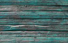 Old Rural Green Wooden Wall Ba...