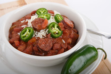 Red Beans And Rice With Sliced Jalapenos