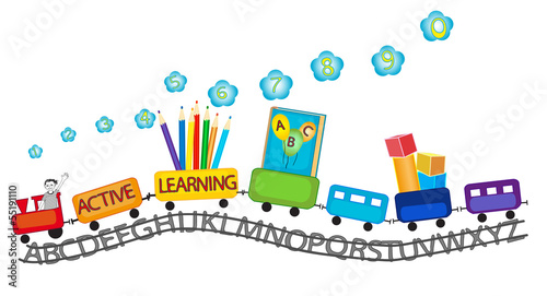 Active learning for preschool kids colorful train #55191110