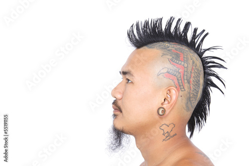 Photo  punk's head with mohawk hair isolated on white background