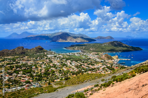 Fotografie, Obraz  Landscape view of Lipari islands in Sicily, Italy