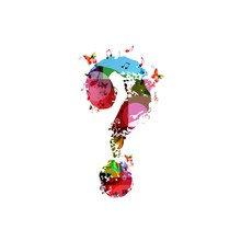 Colorful Vector Question Mark Background With Butterflies