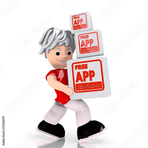 free app download icon carried by a cute character buy this stock