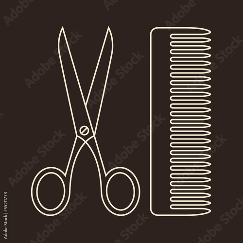 Vector Scissors And Comb Symbols Of Hair Salon Buy This Stock