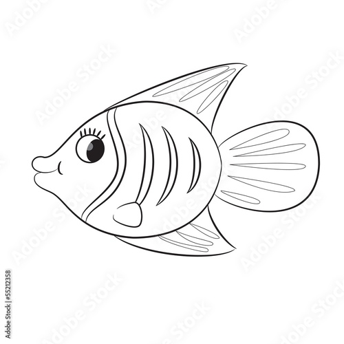 Cartoon Fish Coloring Book Vector Illustration Buy This Stock