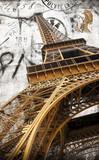 Fototapeta Wieża Eiffla - cartolina vintage della tour Eiffel
