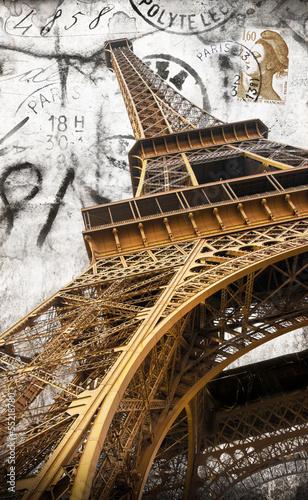 Obraz w ramie cartolina vintage della tour Eiffel