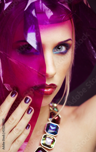 Staande foto Manicure beauty woman with creative make up