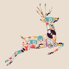 Retro Hipsters Icons Reindeer.