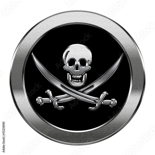 Photo  Pirate icon silver, isolated on white background.