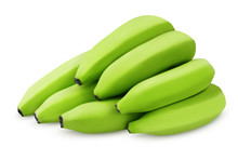 Bunch Of Green Bananas On White Background With Clipping Path