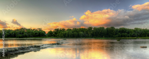 Aluminium Prints Dark grey River Rapids Sunset