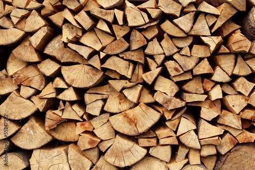 Aluminium Prints Firewood texture pile of wood logs. seamless texture or background