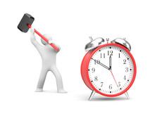 Man Smashes Alarm Clock