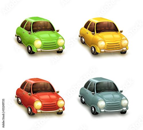Staande foto Cartoon cars Cars, icon set