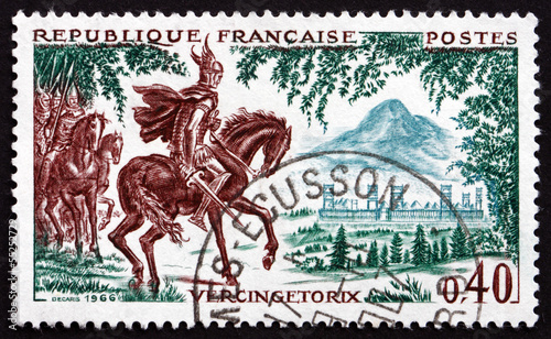 Fotografie, Obraz Postage stamp France 1966 Vercingetorix at Gergovie, 52 B.C.