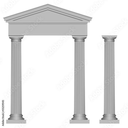Portail et colonne en style grec Billede på lærred