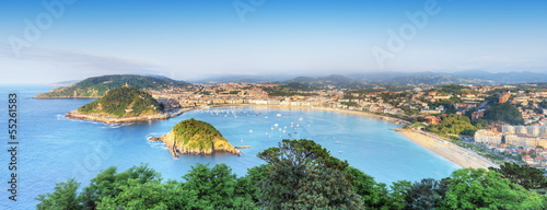 Tablou Canvas Panorama de la baie de San Sébastian Donostia, Espagne.