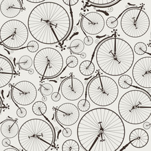 Vintage Bicycle Seamless, Wallpaper, Ideal For Prints