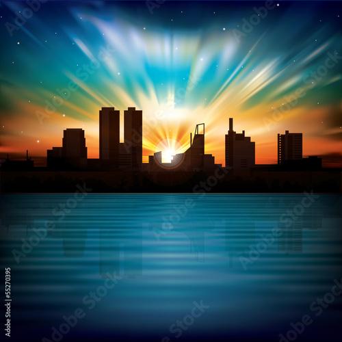 noc-streszczenie-tlo-z-sylwetka-miasta