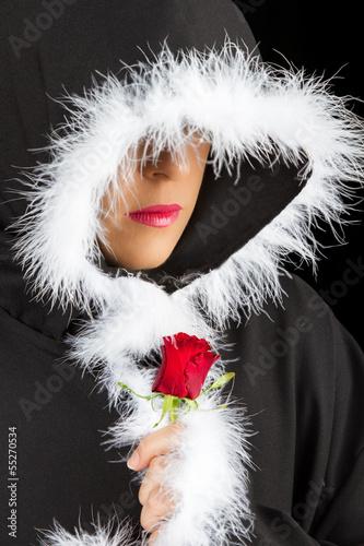 Poster Portrait Aquarelle Portrait of sad woman in black cape and rose artistic conversion